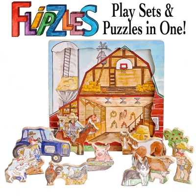 Innovative Barn Puzzle With Thick Wooden Double Sided Pieces A On One Side Play Set The Other Flip To Find Barnyard Characters