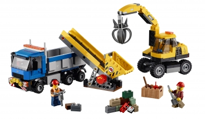 City Excavator and Truck
