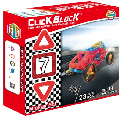 ClickBlock 2-D Magnetic Building Construction Toy- MiniCar Set (23 Pieces)