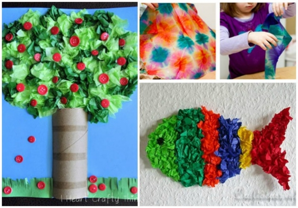 Tissue Paper Can Be The Medium Of Choice To Make Creative Crafts With Your Children Hearts Fish Monsters And More Kids Will Begging Try