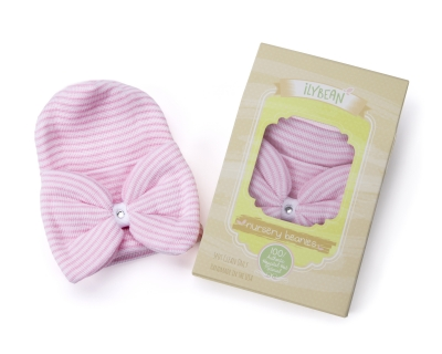 ilybean pink and white striped big bow nursery beanie