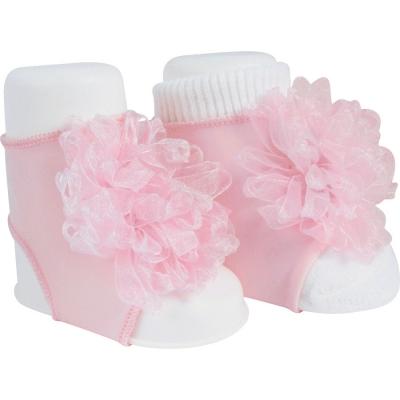 Baby Deer Pink Peep Toe Sock with Sheer Ornament