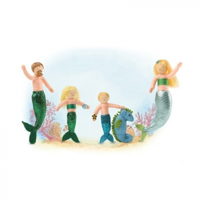 Mermaid Family Halfpenny Dolls, set of 5