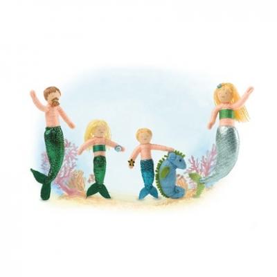 Mermaid Family Halfpenny Dolls, set of 5