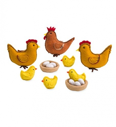 Wooden Chicken Coop and Felt Chickens Play Set Special