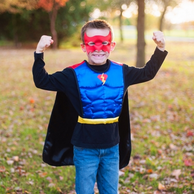 Reversible Bat vs Superhero Tunic Cape & Mask