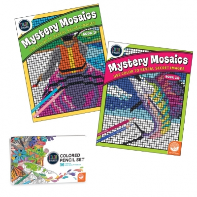 Color By Number Mystery Mosaics Set with Color By Number Colored Pencils