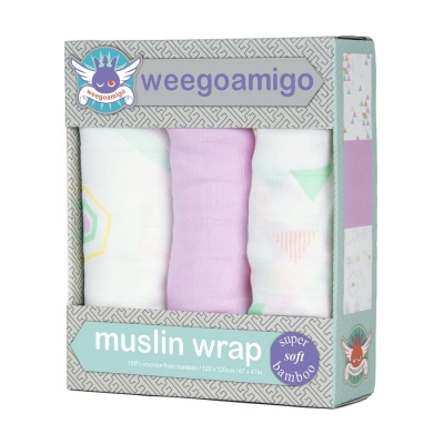 WEEGOAMIGO 3 Pack Bamboo Muslin Swaddle