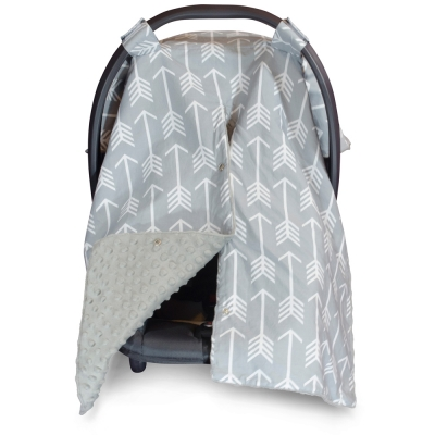 Arrow Carseat Canopy with Grey Dot Minky and Peekaboo Opening