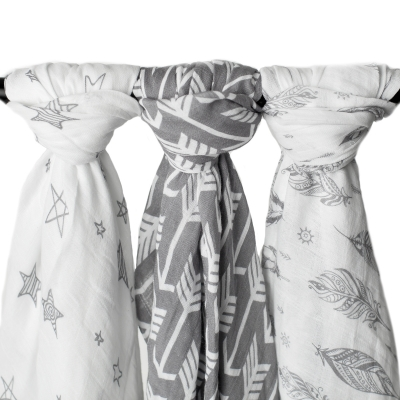 Extra Large Muslin Swaddle Blanket 3 Piece Set - Wanderer Set