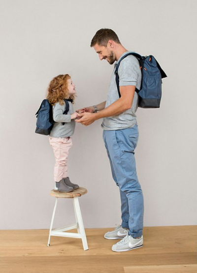 Vintage Little One & Me Reflective Big Backpack in Navy