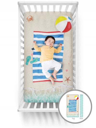 Luvsy Fitted Crib Sheet-Beach Baby