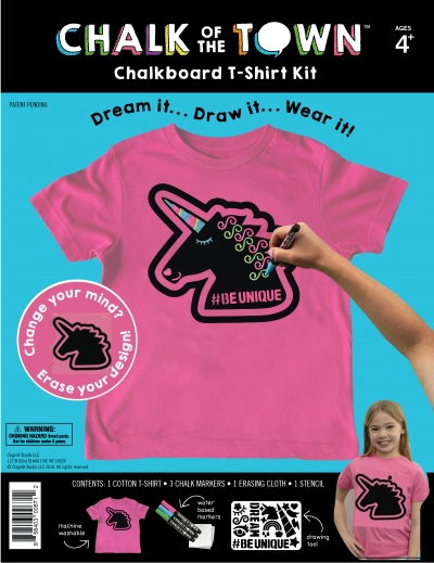 Chalk of the Town Unicorn Chalkboard T-shirt Kit