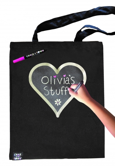 Chalk of the Town Silver Heart Tote Bag