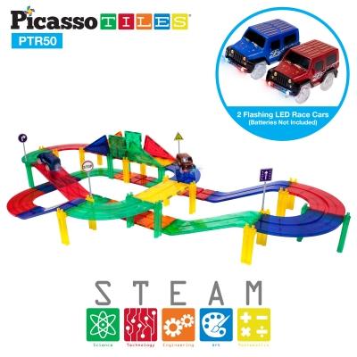 PicassoTiles 50 Piece 3D Magnetic Building Blocks - Race Track Set