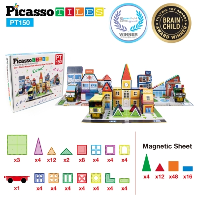 PicassoTiles 150 Piece 3D Magnetic Building Blocks & Stickers Set (1 Car Truck Included)