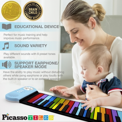PicassoTiles Kid's 49-Key Flexible Roll-Up Piano Rainbow Keyboard