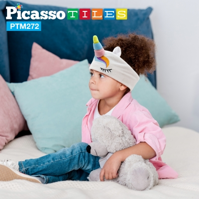 PicassoTiles Kids Unicorn Headband/Eye Mask with Built-In Headsets