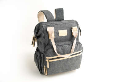 Kids N' Such Grey Chambray Diaper Bag Backpack