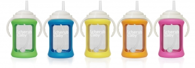 Glass Sippy Cup with Shock Absorb Silicone Color Change Sleeve