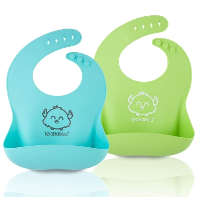 KeaBabies Silicone Baby Bibs 2-Pack