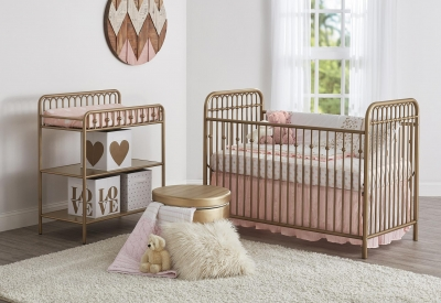 Little Seeds Monarch Hill Ivy Gold Metal Baby Crib