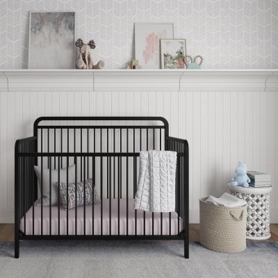 Baby Relax Juniper 4-in-1 Convertible Metal Crib, Matte Black
