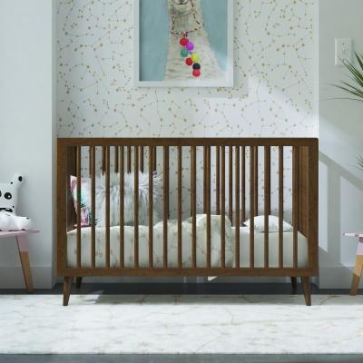 Novogratz Harper 3-in-1 Convertible Baby Crib for Nursery, Walnut