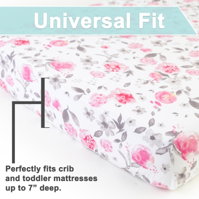 Petal Crib Sheet Set for Girls - Universal Fitted Crib Sheets for Standard Baby or Toddler Mattress - 2 Pack - Jersey Knit Cotton - Super Soft and Safe for Babies
