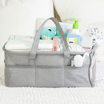 Baby Diaper Caddy Organizer by - Zipper Pocket - Large 15x12x7 Portable Diaper Holder Basket f- 3 Insert Compartments - Grey Canvas Tote - Boy or Girl