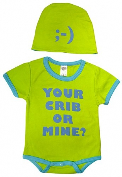 Your Crib or Mine Bodysuit and Cap Set