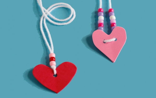 Kids Craft Valentine S Day Foam Heart Friendship Necklaces