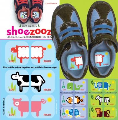 Educational Shoe Stickers-Farm, Jungle, Sea Animals