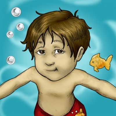 Luca Lashes has his First Swimming Lesson
