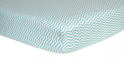 Trend Lab Deluxe Flannel Fitted Crib Sheet- Mint and White Chevron