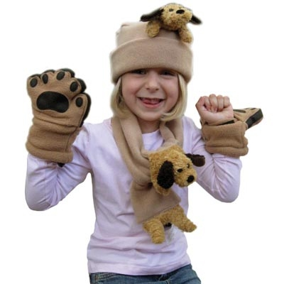 Floppy Ear Dog on Camel Fleece-Buddy Scarf & Hat Set