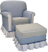 Blueberry Adult Continental Glider Rocker with Gliding Ottoman