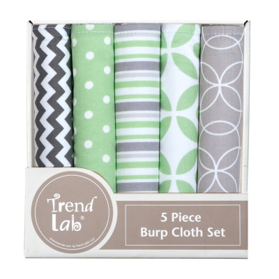 Trend Lab 5 Piece Burp Cloth Bundle Box- Lauren