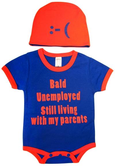 Bald, Unemployed... Bodysuit and Cap Set